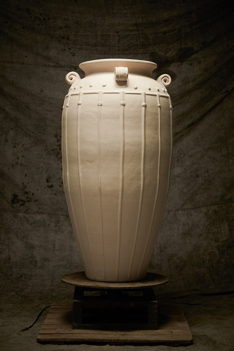 CLASSICAL LARGE AMPHORA STYLE JAR  WITH STUDDED AND MOULDED