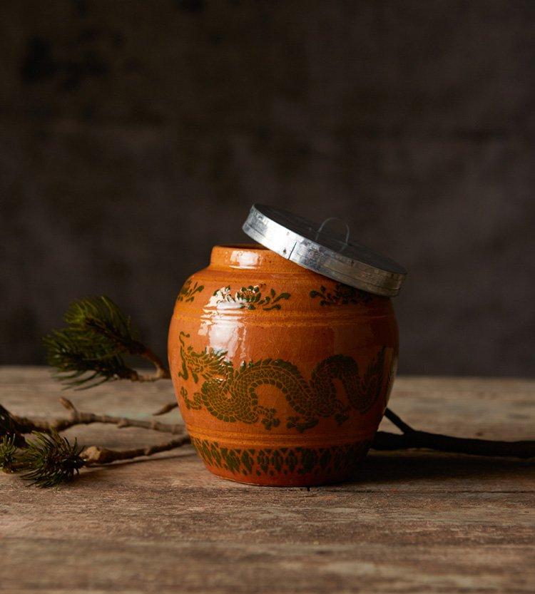 AMBER GLAZED DRAGON JAR
